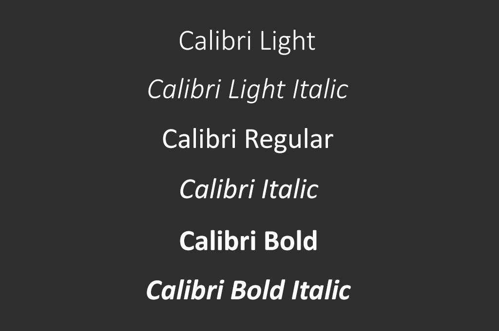 Rodzina fontu Calibri