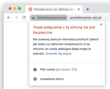 Brak certyfikatu SSL w Chrome